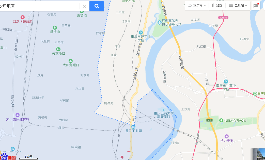 Chongqing, China, 重庆,Shapingba District, 沙坪坝区, closeup, Baidu Maps 百度地图