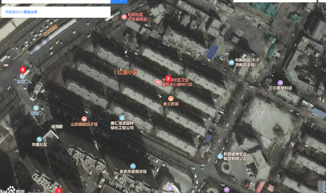 China, Xinjiang, Urumuqi, Midongnan Lu, Bingtuandekun 新疆,乌鲁木齐, 米东南路, 兵团德坤 The Baidu satellite map. The red 8 is the main gate