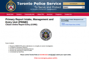 Toronto Police Service online parking complaint, tps.on.ca/core I could not understand the URL from their automated message