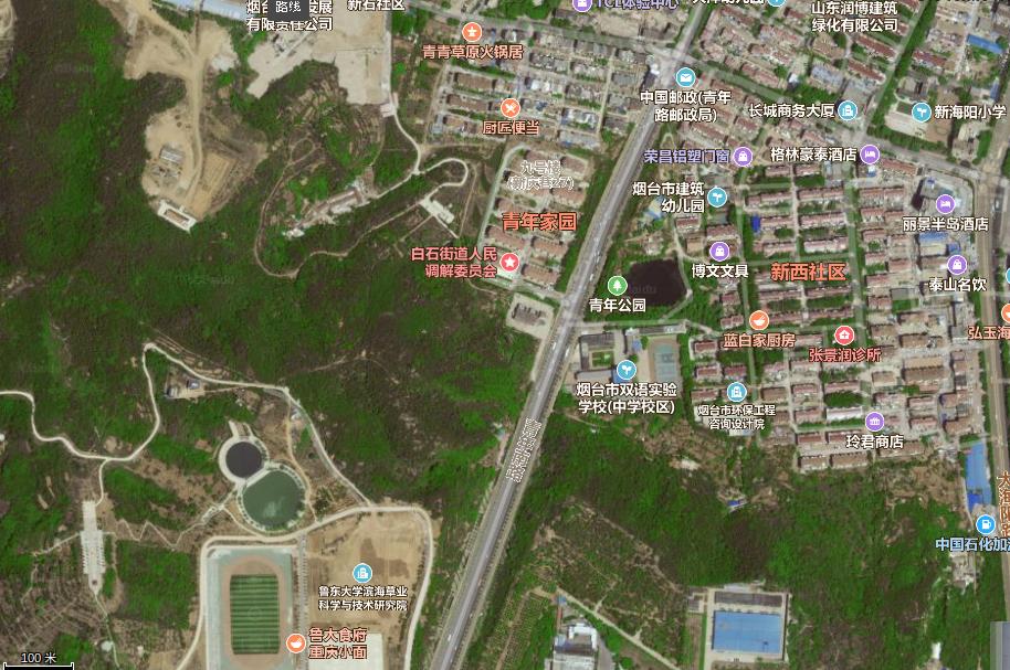 Shandong Province, Yantai City, Ludong University, Qingnian Jiayuan, 9, Satmap, 2019, from Baidu Maps