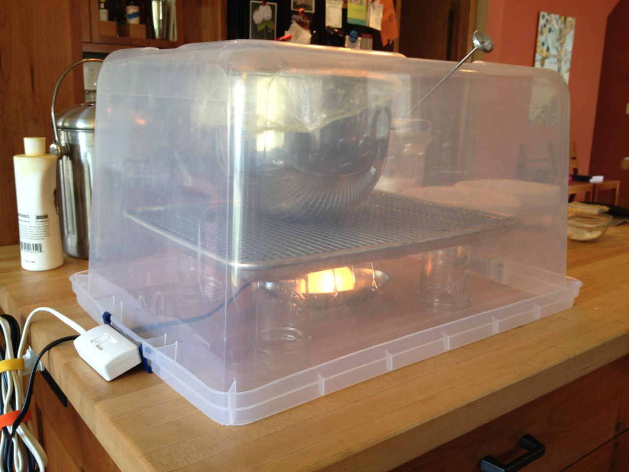 Proofing Box: DIY, overturned transparent plastic container, automotive lamp, thermometer