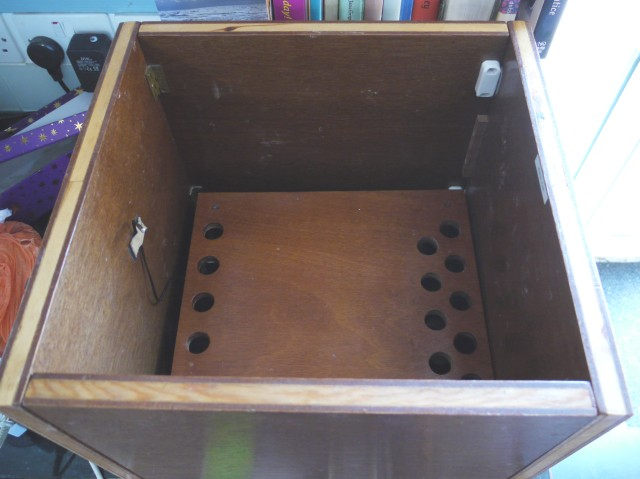 Proofing Box: DIY, collapsible, wooden sides and top, sits on a table, ceramic heater