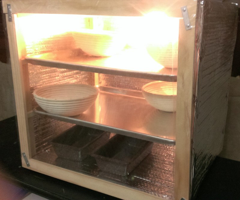 Proofing Box: DIY, wooden frame, plywood back and bottom, aluminum sides, multiple shelves, heat lamp, see-through door