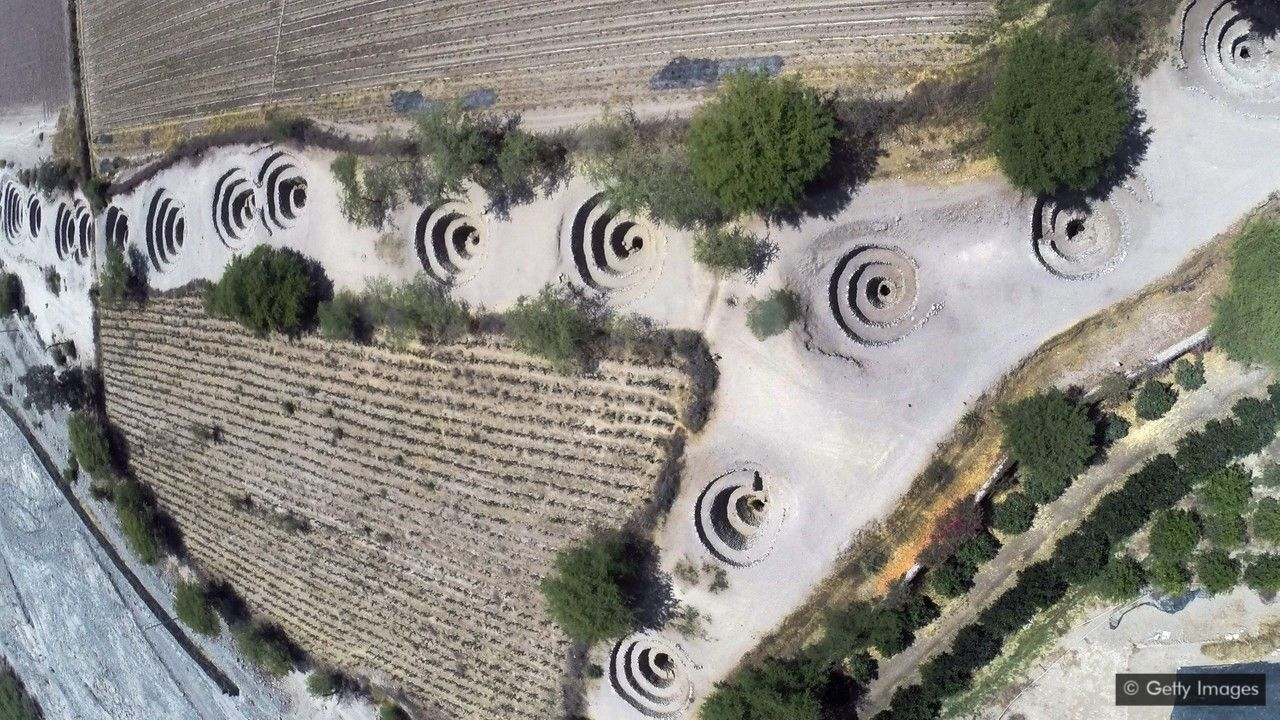 The Puquios water system, Nasca region, Peru, used wind to push ground water to the surface, providing water for their people, and making a desert livable. Brilliant.