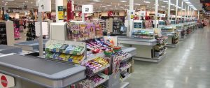 This is not NoFrills but an example of their line of cashiers. The single line queue for a cashier would start where the photographer is standing. This results in significant delays and increased risk to shoppers. This has discouraged me from shopping at NoFrills and going to other grocery chains, which offer similar prices and sales, more convenience and less risk of contracting the CoVid-19 virus.