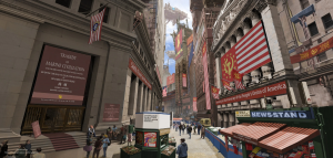 New York City, Manhattan, 2098, depicted in a sci-fi drawing, of the US run by the Communist party The People's Union of America, by Fan Weinan, Beijing, 2020