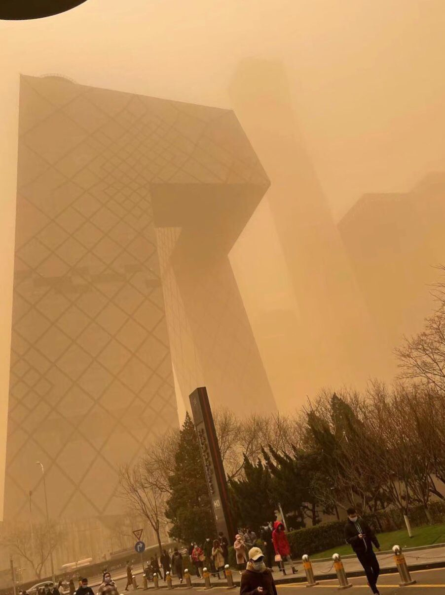 Sandstorms and pollution in China Beijing, 2021 Mar 15, where air quality levels were so terrible they were off the charts.