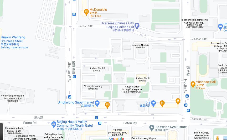 China, Beijing City, Chaoyang District, Jinchan South Lane #9 中国,北京市 ,朝阳区,金蝉南里-9号楼, street map, Google
