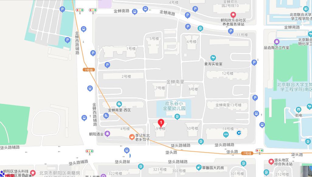 China, Beijing City, Chaoyang District, Jinchan South Lane #9 中国,北京市 ,朝阳区,金蝉南里-9号楼, street map, Baidu