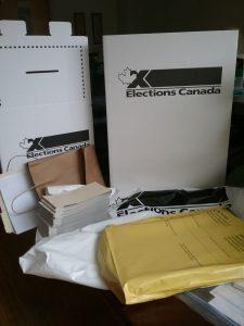 Canada Election 2021 DRO kit, ballot box, ballots, lots of papers. Photo by Don Tai